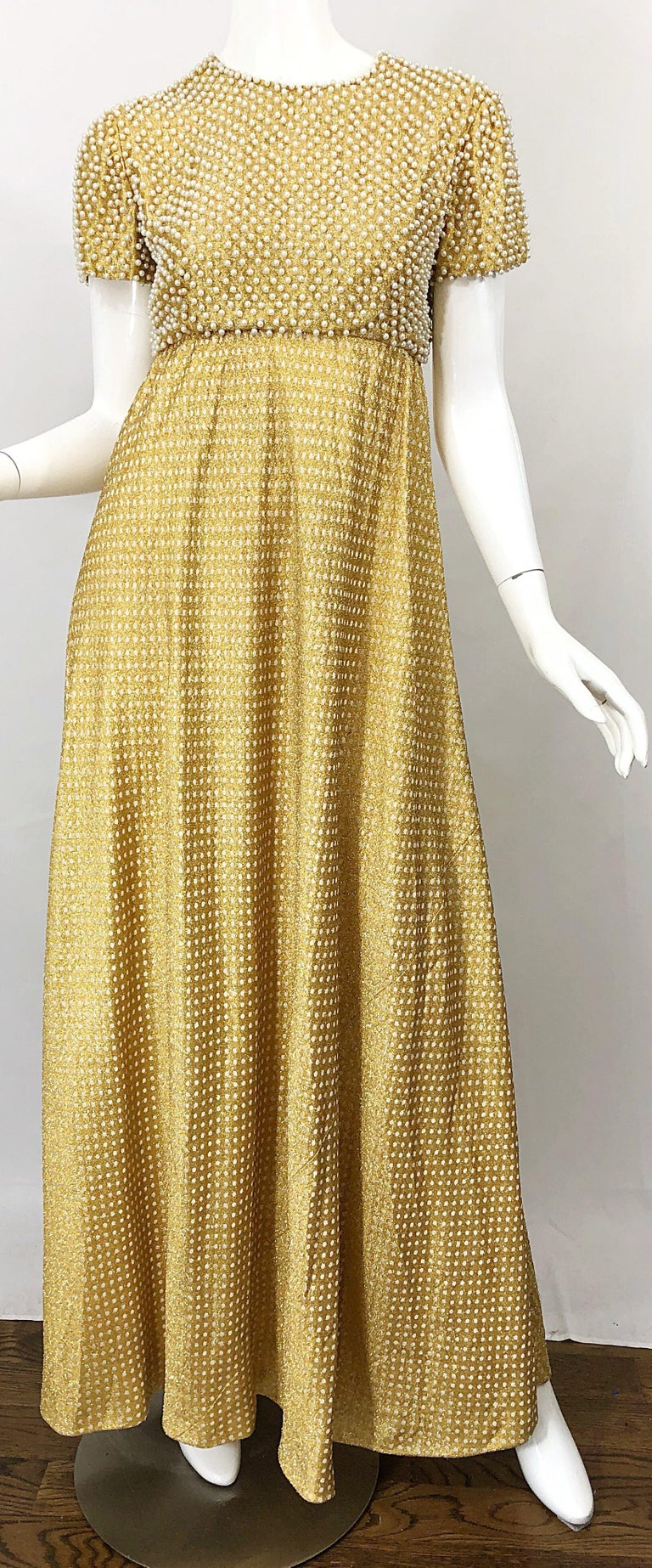 1960s Geoffrey Beene Couture Gold Silk Pearl Encrusted Vintage 60s Gown Dress For Sale 6