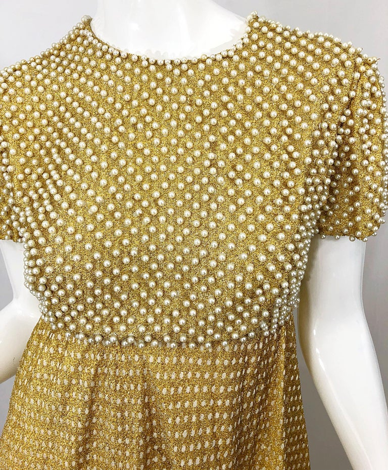 1960s Geoffrey Beene Couture Gold Silk Pearl Encrusted Vintage 60s Gown Dress For Sale 7