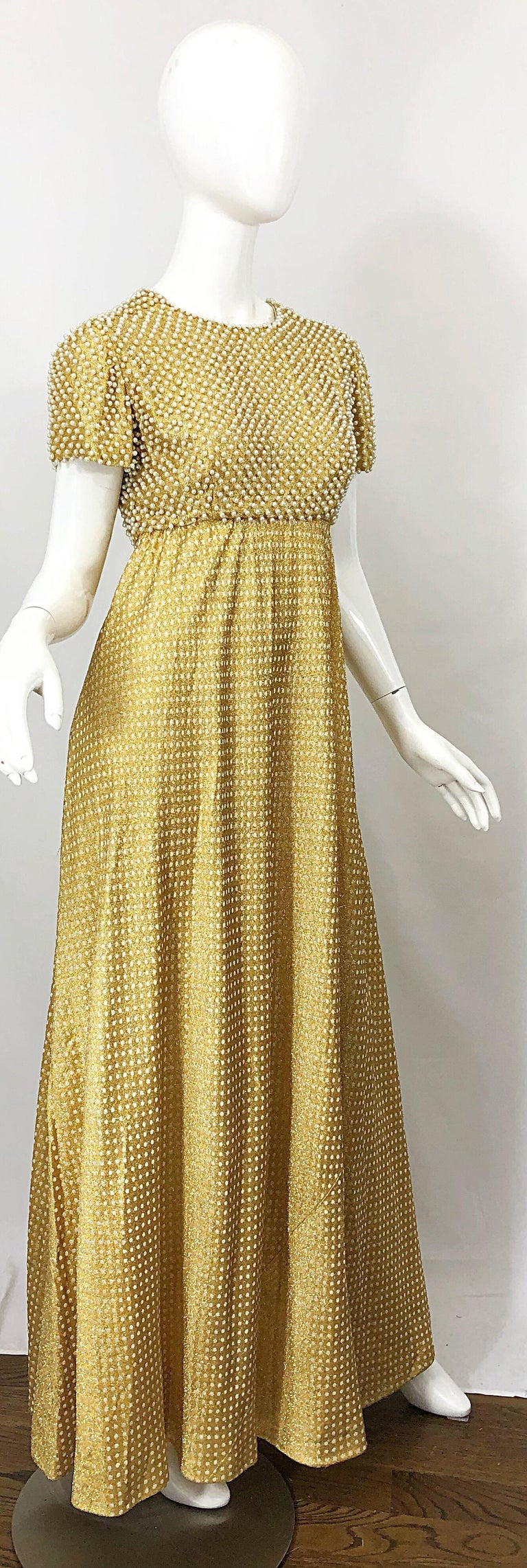 1960s Geoffrey Beene Couture Gold Silk Pearl Encrusted Vintage 60s Gown Dress For Sale 9