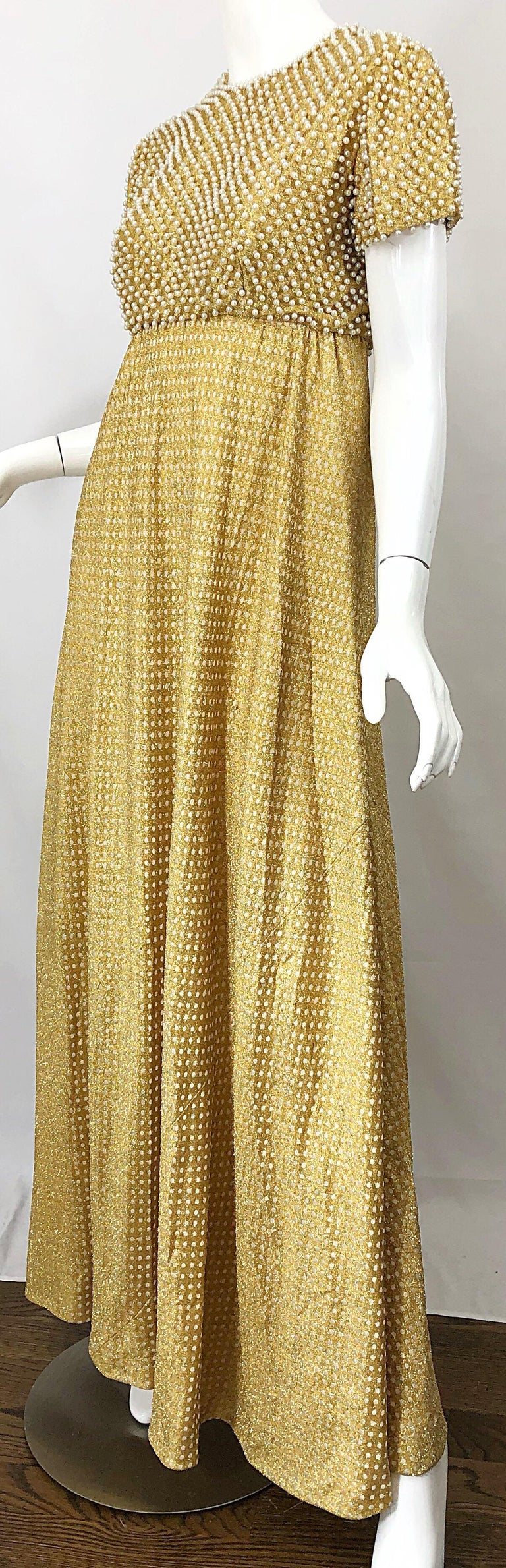 1960s Geoffrey Beene Couture Gold Silk Pearl Encrusted Vintage 60s Gown Dress For Sale 10