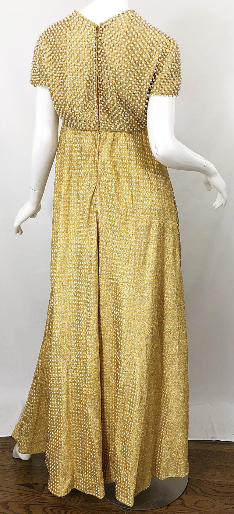 1960s Geoffrey Beene Couture Gold Silk Pearl Encrusted Vintage 60s Gown Dress For Sale 11
