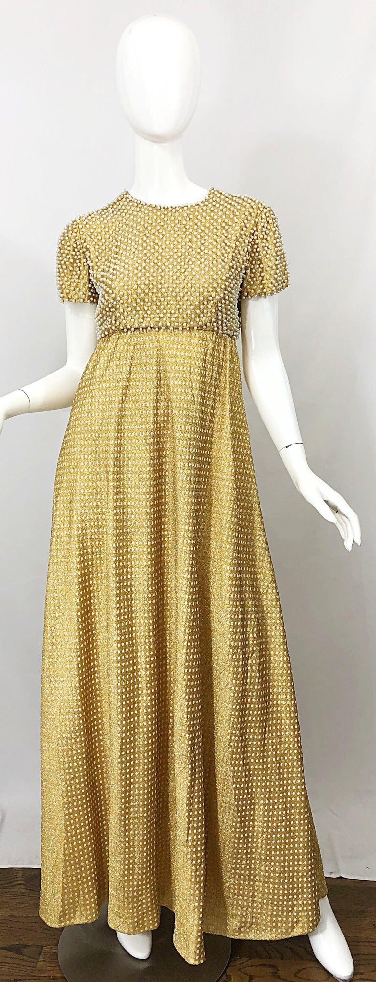 1960s Geoffrey Beene Couture Gold Silk Pearl Encrusted Vintage 60s Gown Dress For Sale 13