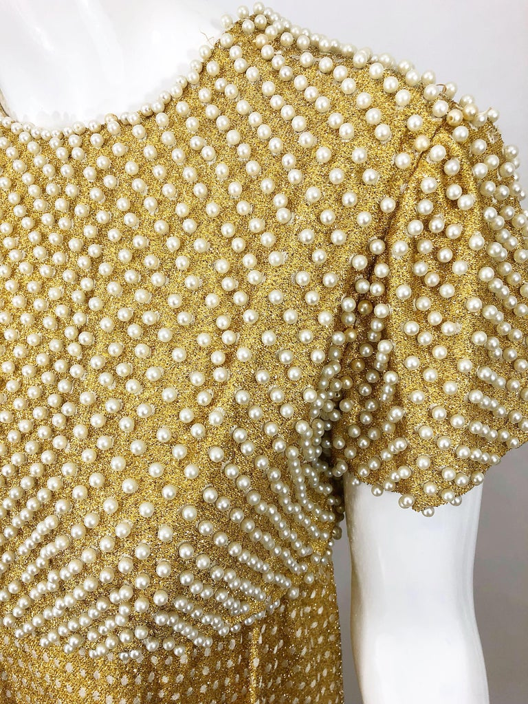 Brown 1960s Geoffrey Beene Couture Gold Silk Pearl Encrusted Vintage 60s Gown Dress For Sale