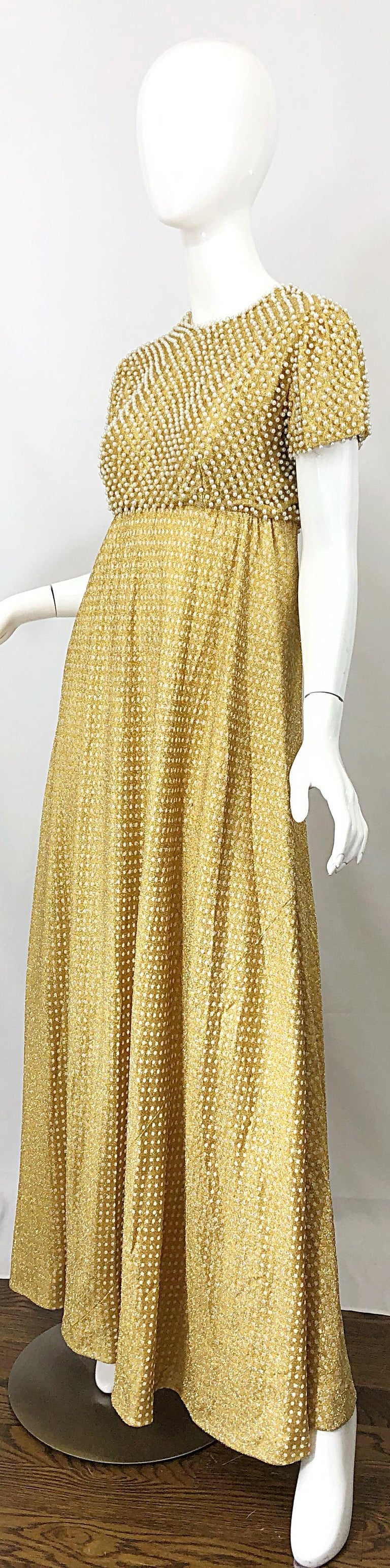 1960s Geoffrey Beene Couture Gold Silk Pearl Encrusted Vintage 60s Gown Dress In Excellent Condition For Sale In Chicago, IL
