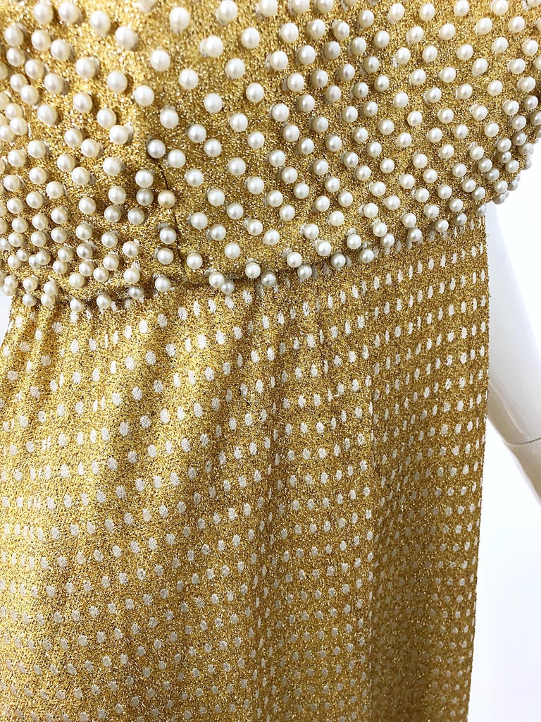 1960s Geoffrey Beene Couture Gold Silk Pearl Encrusted Vintage 60s Gown Dress For Sale 1