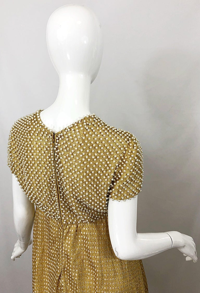 1960s Geoffrey Beene Couture Gold Silk Pearl Encrusted Vintage 60s Gown Dress For Sale 2
