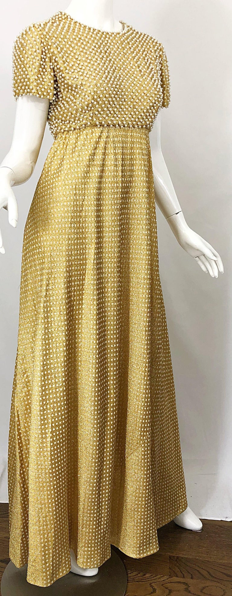 1960s Geoffrey Beene Couture Gold Silk Pearl Encrusted Vintage 60s Gown Dress For Sale 4