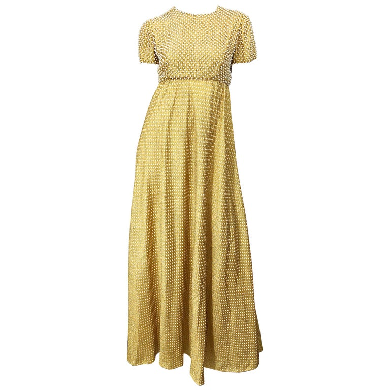 1960s Geoffrey Beene Couture Gold Silk Pearl Encrusted Vintage 60s Gown Dress For Sale