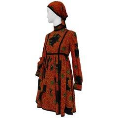 1960s Geoffrey Beene Decorative Printed Maxi Dress w Head Scarf