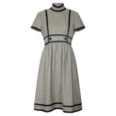 1960s Geoffrey Beene Grey Wool and Black Dress