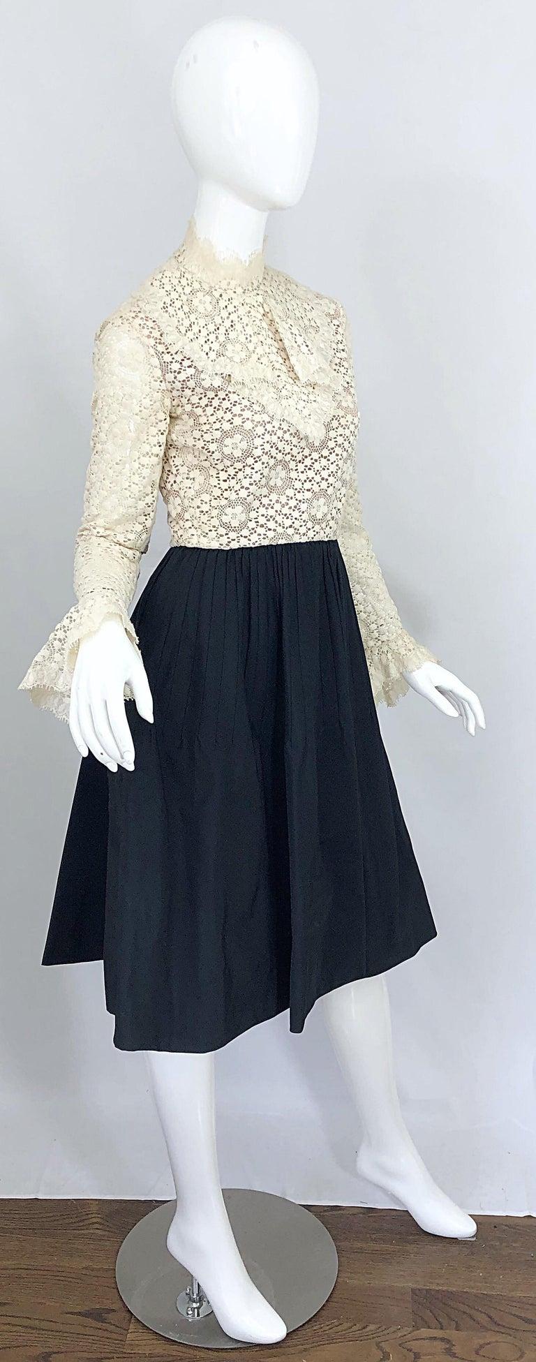 1960s Geoffrey Beene Ivory Crochet and Black Silk Taffeta Vintage 60s Dress For Sale 6