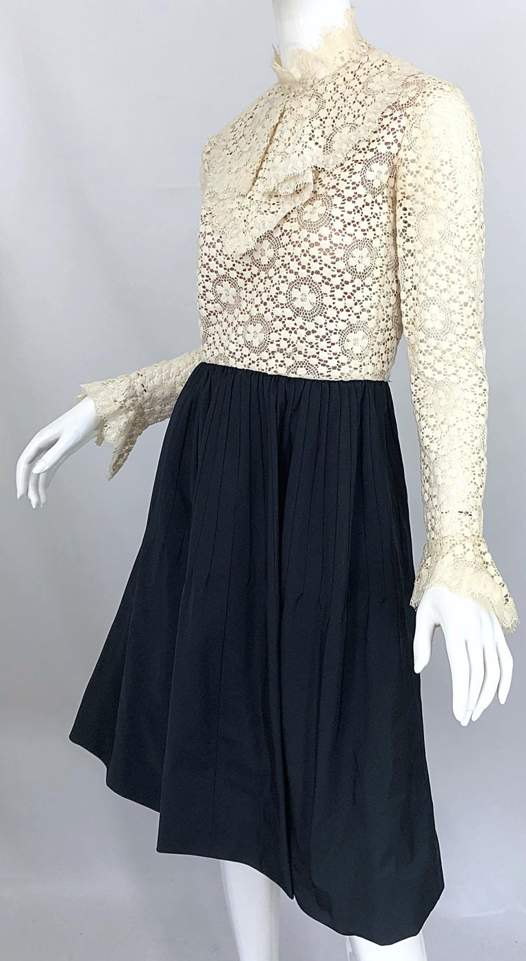 1960s Geoffrey Beene Ivory Crochet and Black Silk Taffeta Vintage 60s Dress For Sale 8