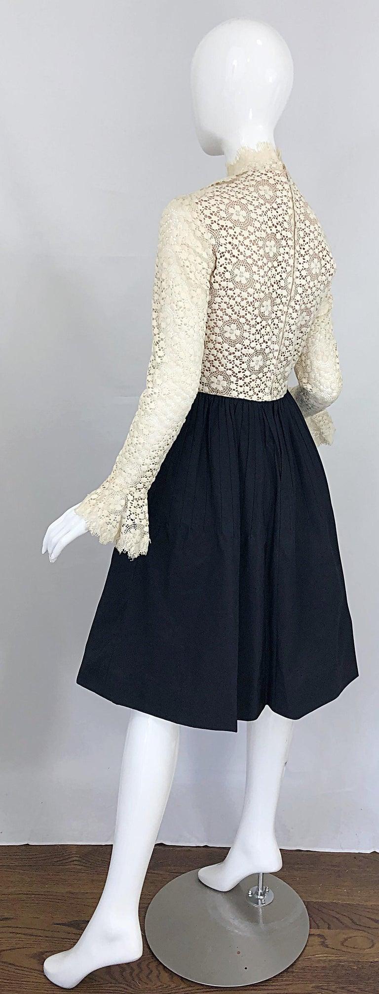 1960s Geoffrey Beene Ivory Crochet and Black Silk Taffeta Vintage 60s Dress For Sale 9