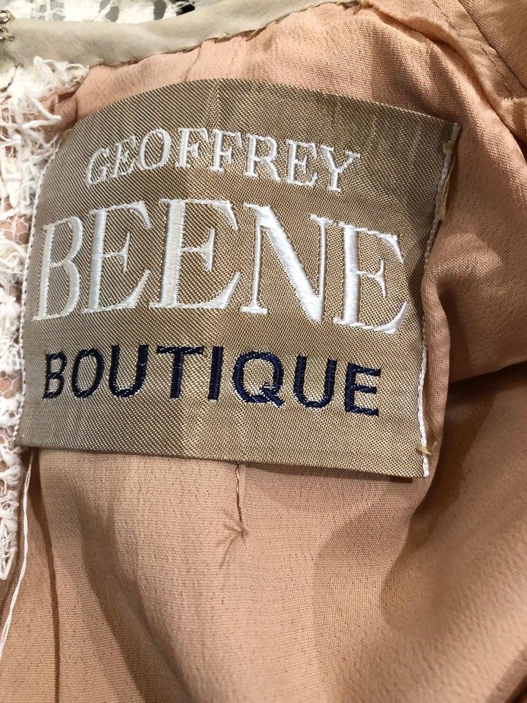 White 1960s Geoffrey Beene Ivory Crochet and Black Silk Taffeta Vintage 60s Dress For Sale