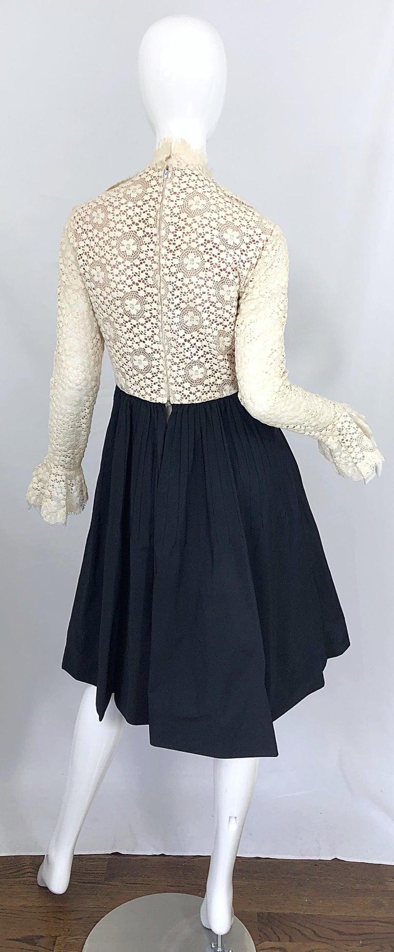 Women's 1960s Geoffrey Beene Ivory Crochet and Black Silk Taffeta Vintage 60s Dress For Sale
