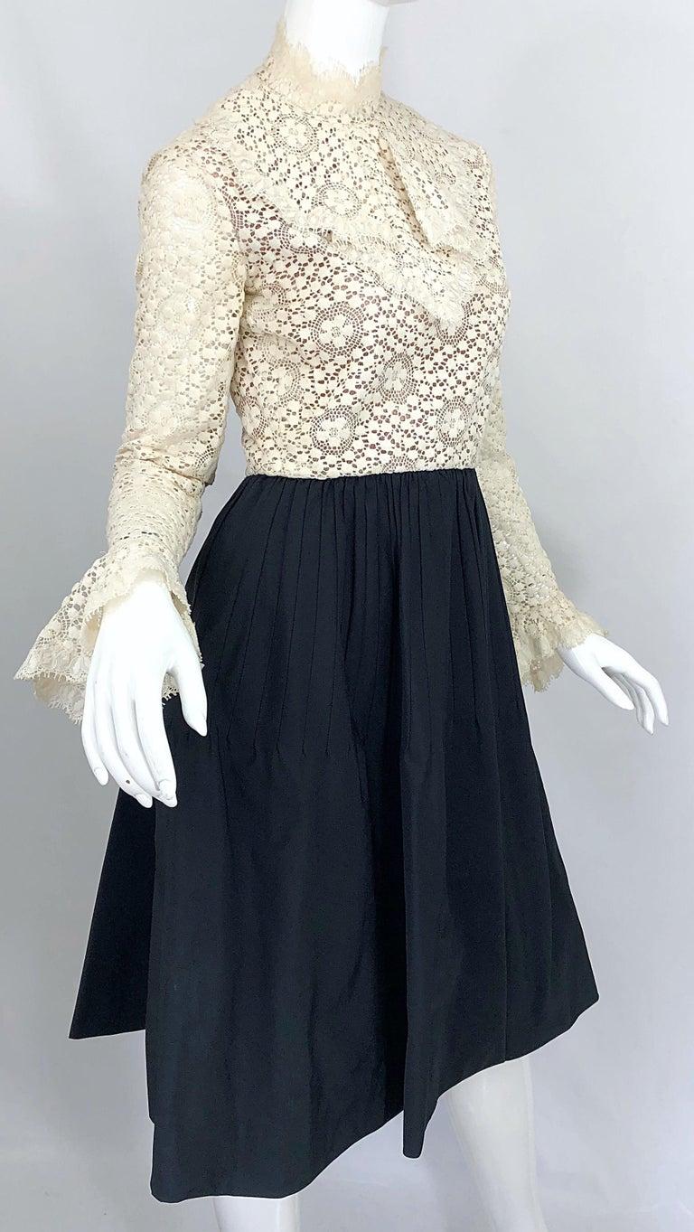 1960s Geoffrey Beene Ivory Crochet and Black Silk Taffeta Vintage 60s Dress For Sale 1