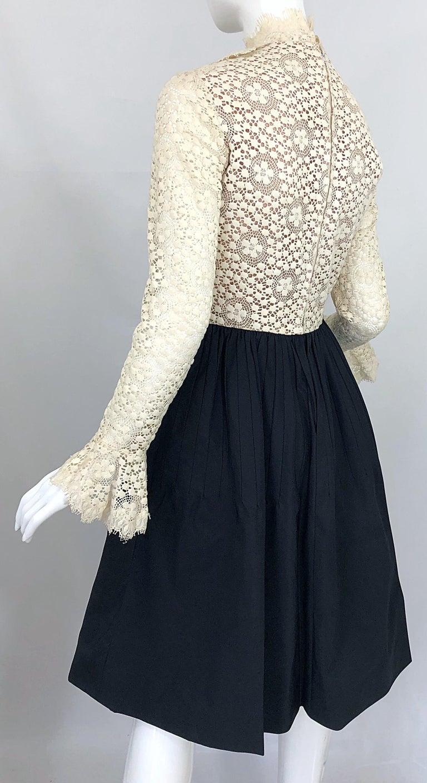 1960s Geoffrey Beene Ivory Crochet and Black Silk Taffeta Vintage 60s Dress For Sale 3