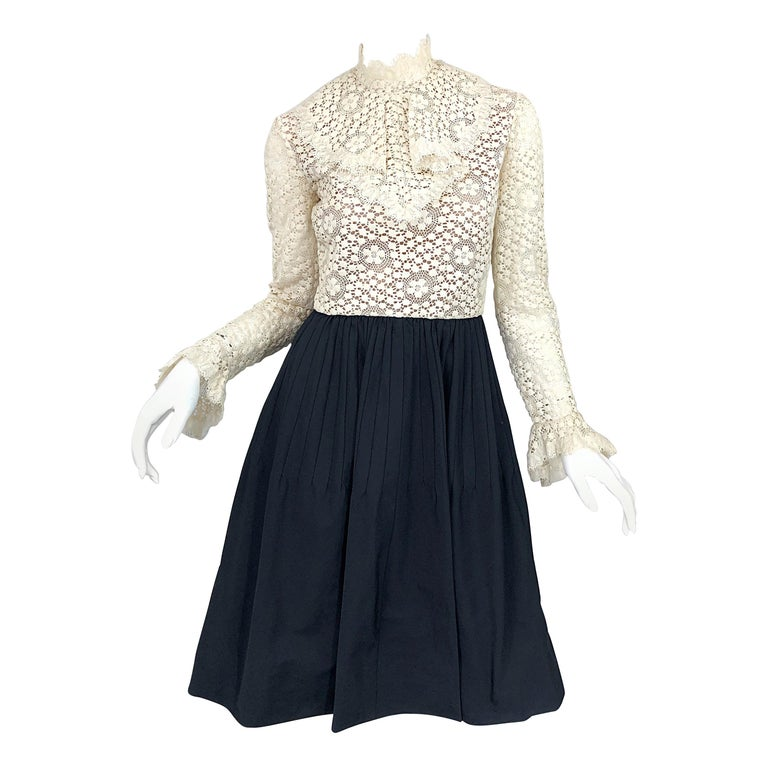 1960s Geoffrey Beene Ivory Crochet and Black Silk Taffeta Vintage 60s Dress For Sale