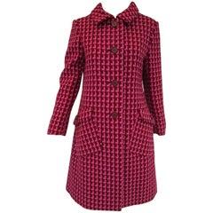 1960s Geoffrey Beene Pink and Plum Drop Shadow Pattern Coat