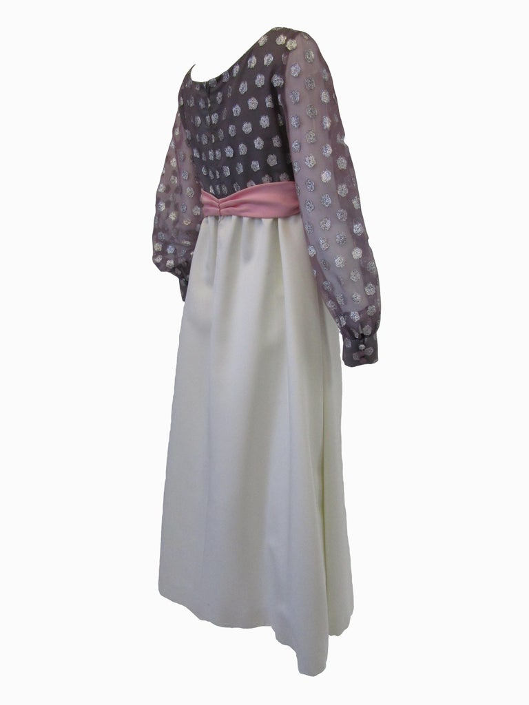 Gray 1960s  Geoffrey Beene Purple, Pink and Cream Silk Gown with Silver Polka Dots  For Sale