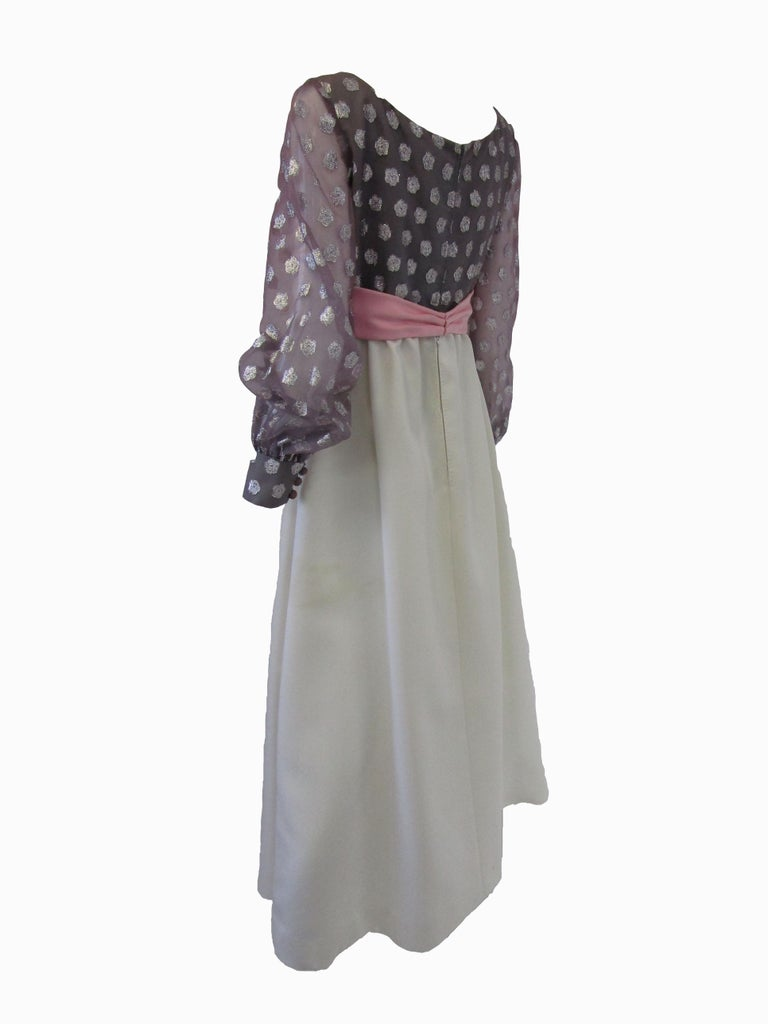 1960s  Geoffrey Beene Purple, Pink and Cream Silk Gown with Silver Polka Dots  In Good Condition For Sale In Houston, TX