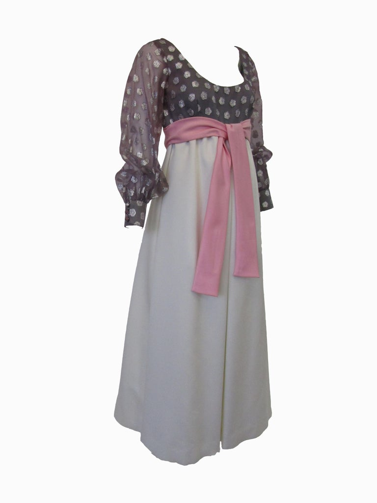 Women's 1960s  Geoffrey Beene Purple, Pink and Cream Silk Gown with Silver Polka Dots  For Sale