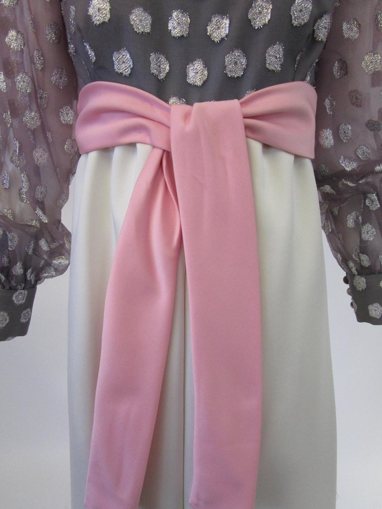 1960s  Geoffrey Beene Purple, Pink and Cream Silk Gown with Silver Polka Dots  For Sale 2