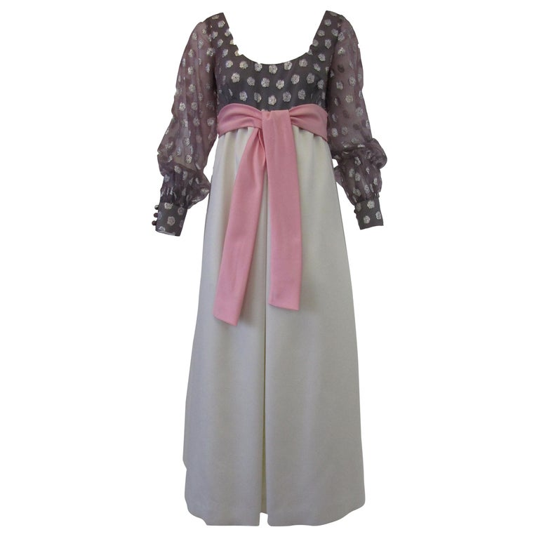 1960s  Geoffrey Beene Purple, Pink and Cream Silk Gown with Silver Polka Dots  For Sale