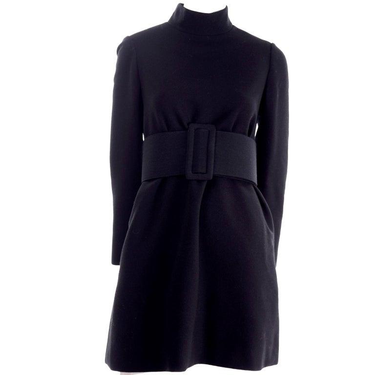 1960s Geoffrey Beene Vintage Black Knit Mini Tent Dress With Wide Belt For Sale 6