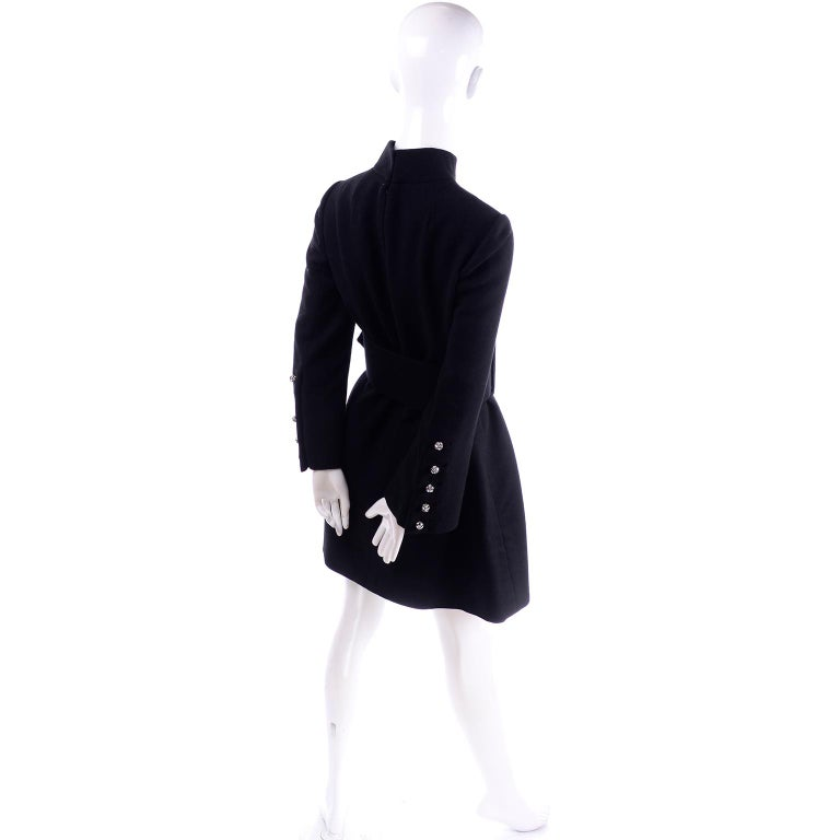 Women's 1960s Geoffrey Beene Vintage Black Knit Mini Tent Dress With Wide Belt For Sale
