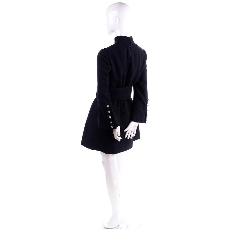 1960s Geoffrey Beene Vintage Black Knit Mini Tent Dress With Wide Belt For Sale 1
