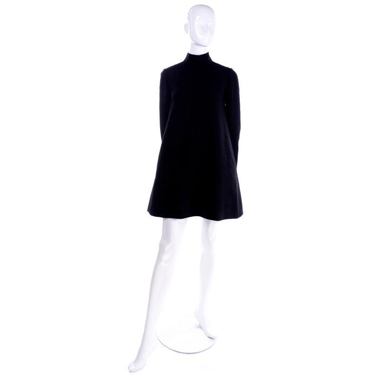 1960s Geoffrey Beene Vintage Black Knit Mini Tent Dress With Wide Belt For Sale 2