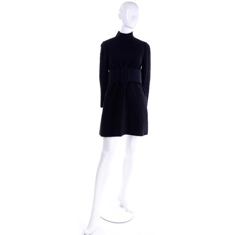 1960s Geoffrey Beene Vintage Black Knit Mini Tent Dress With Wide Belt For Sale 3