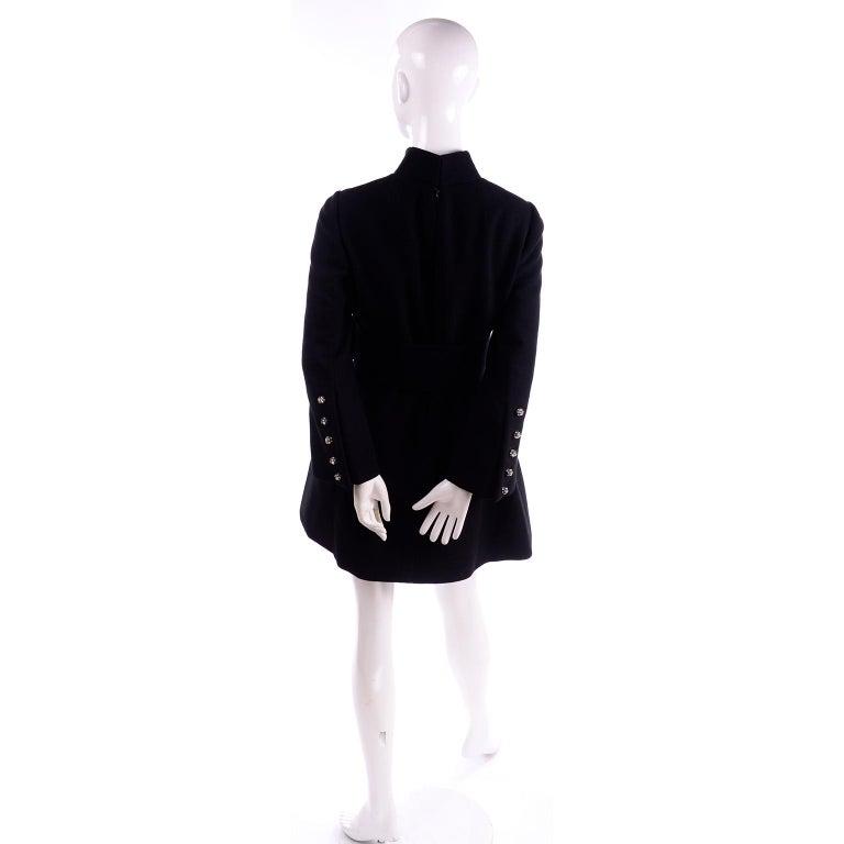 1960s Geoffrey Beene Vintage Black Knit Mini Tent Dress With Wide Belt For Sale 4