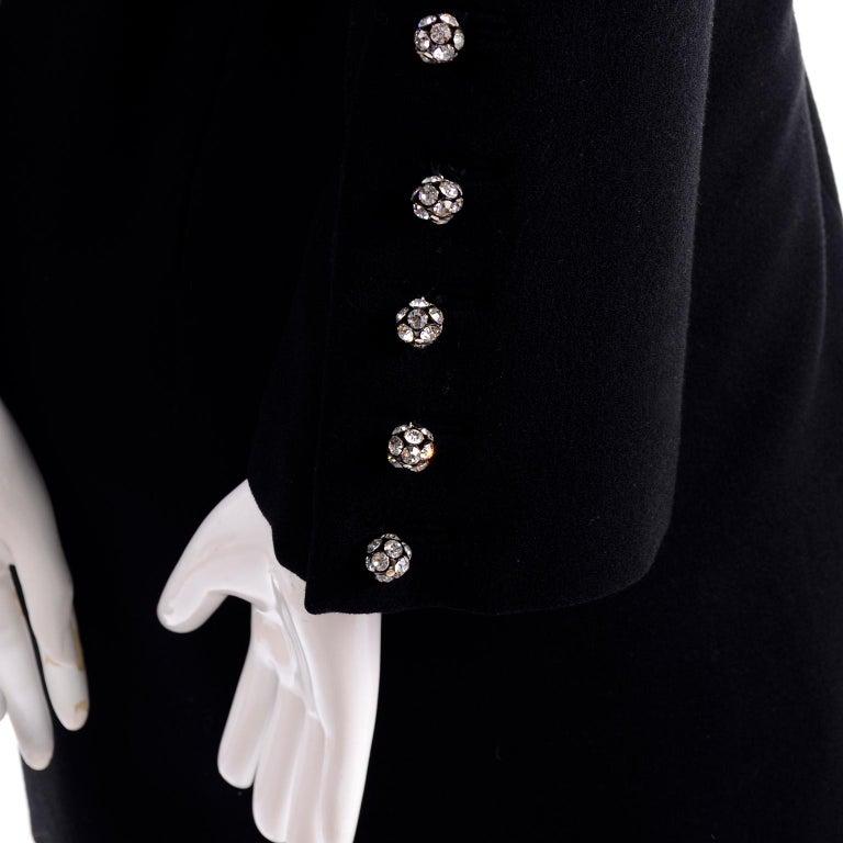 1960s Geoffrey Beene Vintage Black Knit Mini Tent Dress With Wide Belt For Sale 5