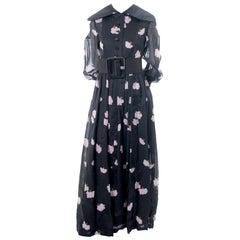 1960s Geoffrey Beene Vintage Midnight Blue Organza Maxi Dress w Pink Flowers