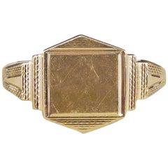 1960s Geometric Detailed Signet Ring in 9 Carat Yellow Gold