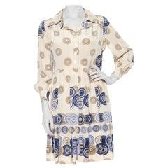 1960S Geometric Printed Silk Mod Pleated Skirt Dress
