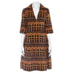 1960S Geometric Printed Wool Mod Dress