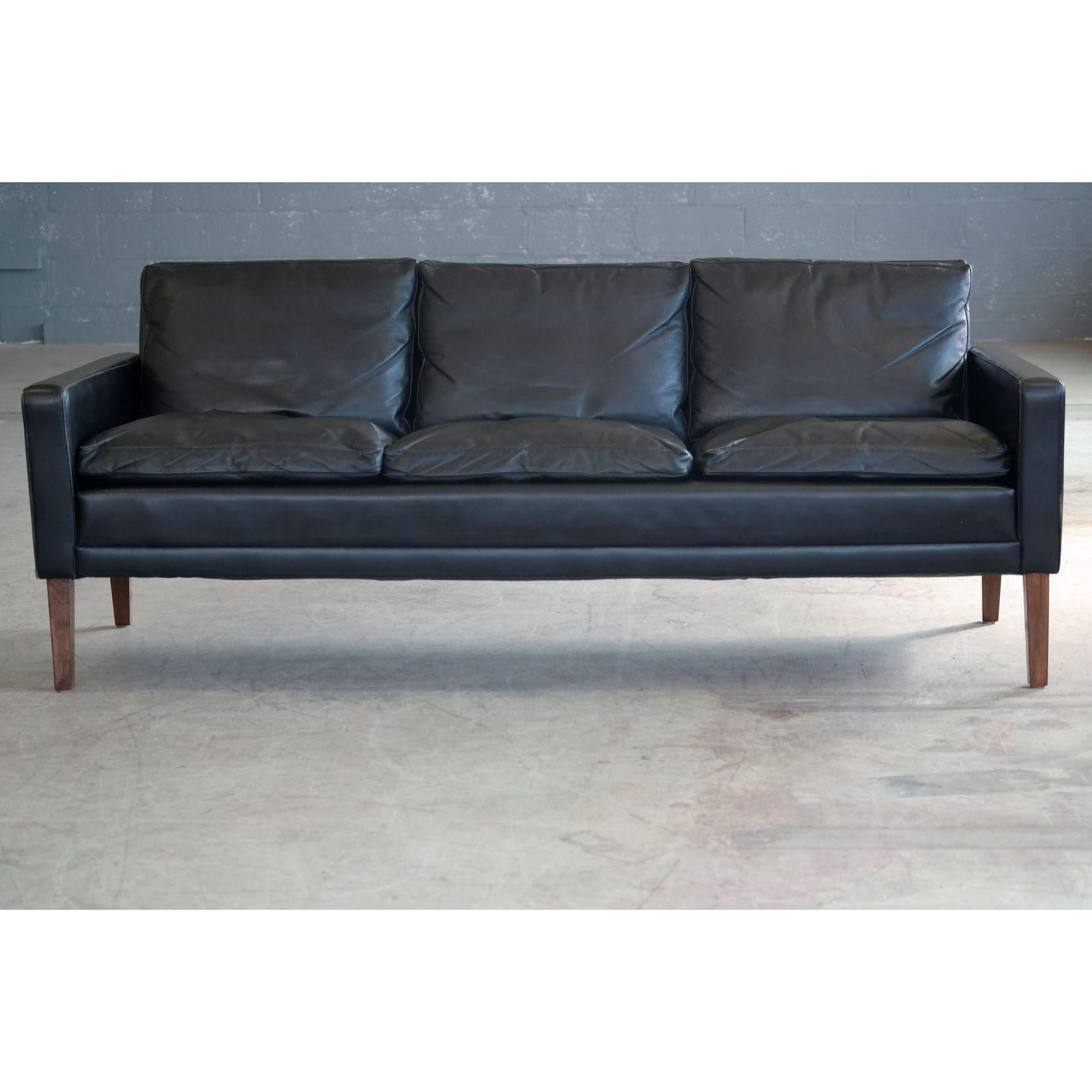 Mid Century Modern 1960s Georg Thams Style Danish Black Leather Three Seat  Sofa For