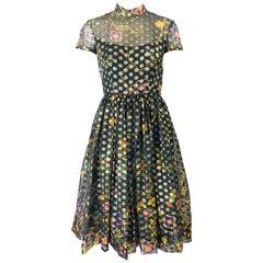 1960s George Halley Silk Chiffon Gold Flower Polka Dot Vintage 60s Dress
