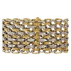 1960s Georges L'Enfant Paris Wide Gold Braided Bracelet