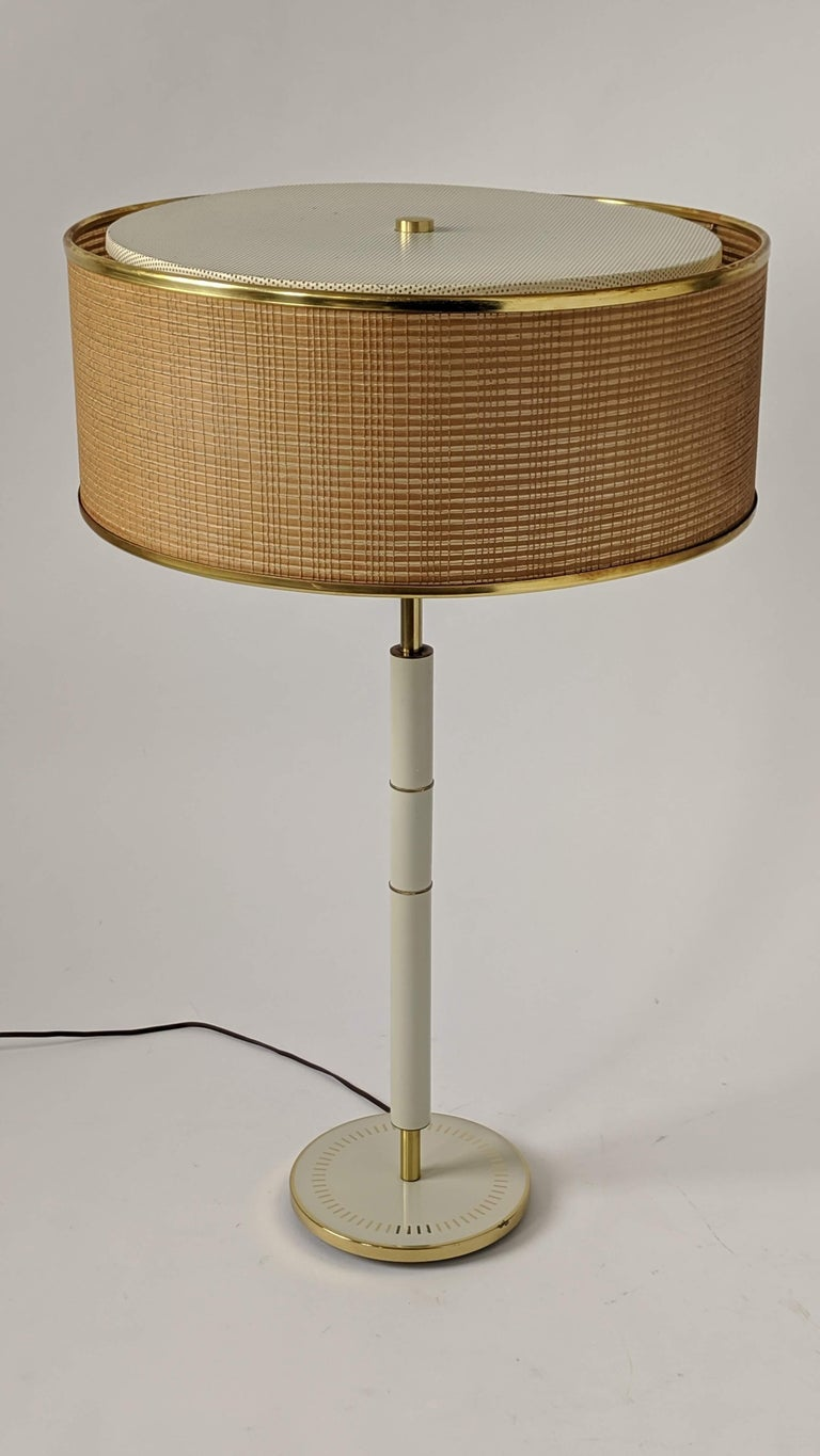 American 1960s Huge Gerald Thurston 3 Lights Tall Table Lamp , USA  For Sale