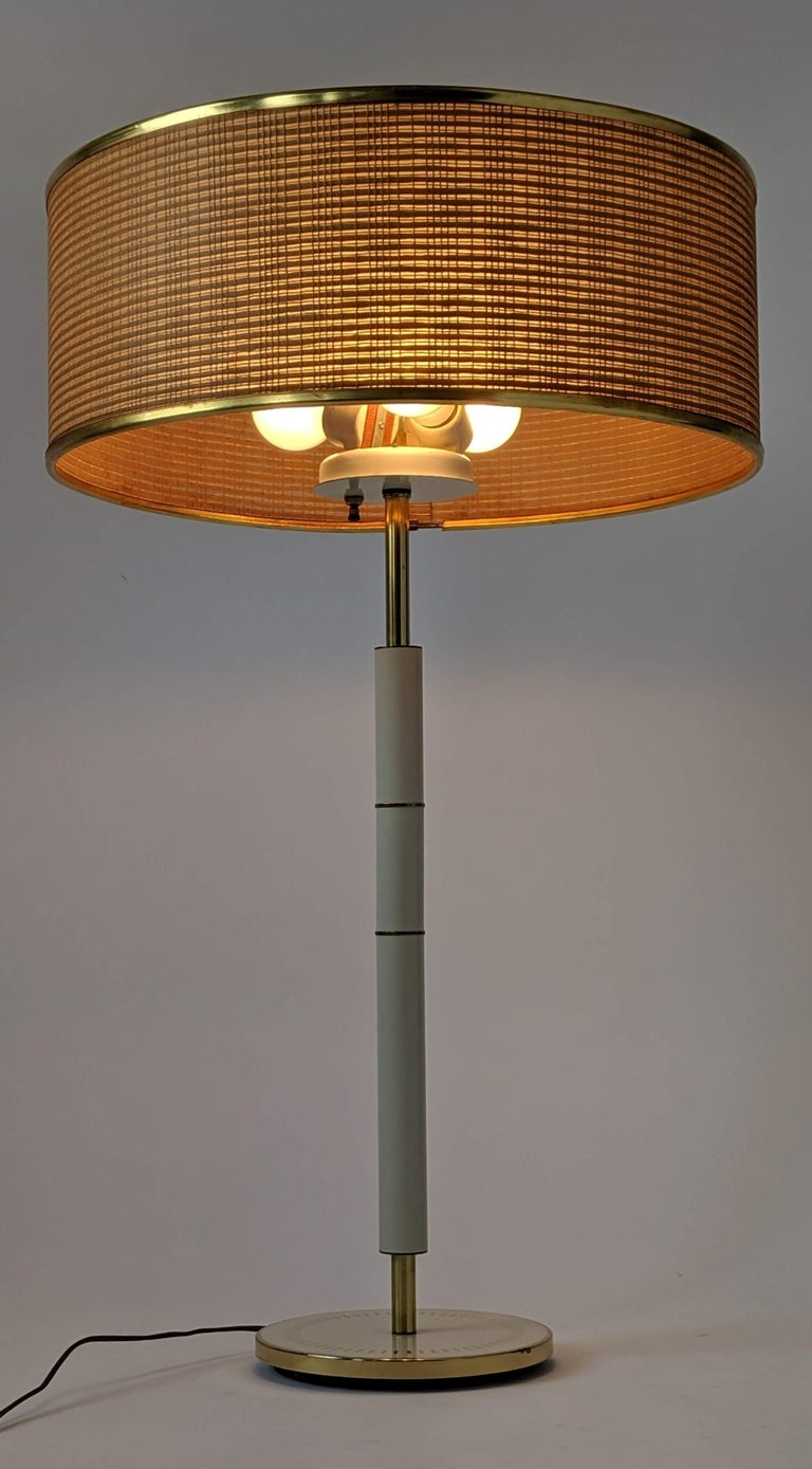 Mid-20th Century 1960s Huge Gerald Thurston 3 Lights Tall Table Lamp , USA  For Sale