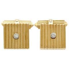 1960s German Art Deco Style Diamond Gold Cufflinks