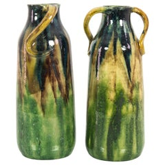 1960s German Ceramic Sylvan Green Vases, a Pair