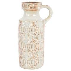 1960s German Ceramic Vase with Undulating Pattern