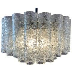 1960s German Doria Leuchten Crystal Glass Two-Tier Tubular Chandelier