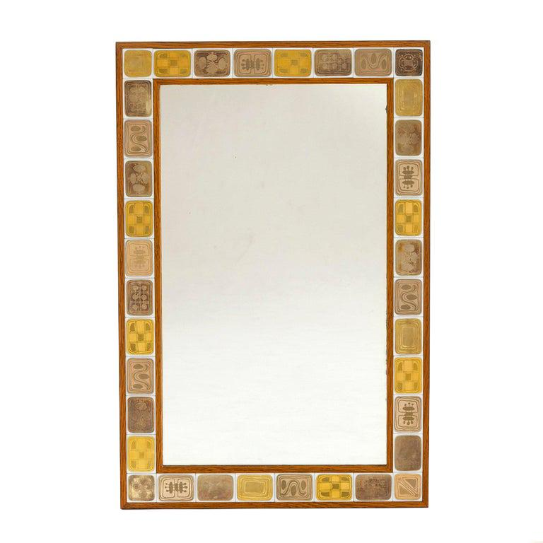 1960s German Porcelain Framed Mirror by Hans Theo Baumann for Rosenthal For Sale