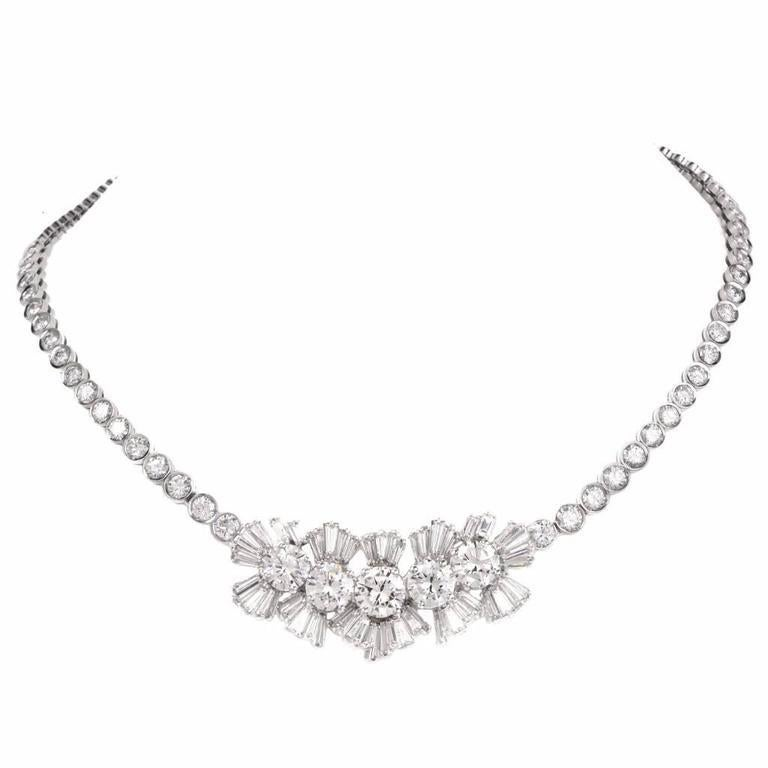1960s GIA Diamond Gold Choker Necklace